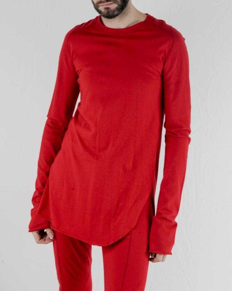 T-shirt long rouge à manches piquées Lost & Found