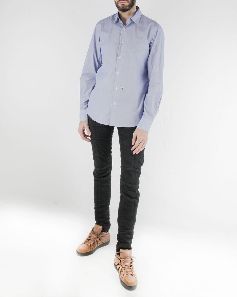 Chemise bleue à fines rayures blanches Marchand Drapier