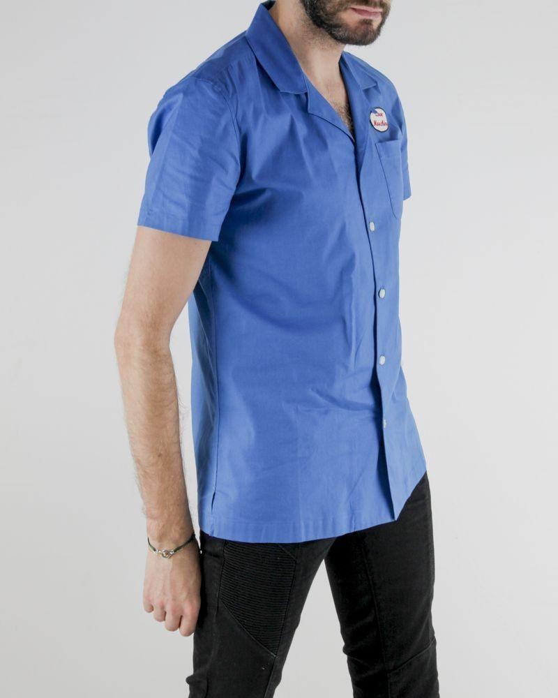 Chemise bleue à dos floqué Love Moschino