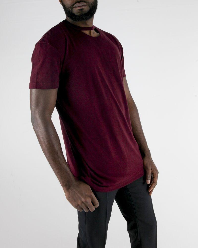 T-Shirt en coton bordeaux à col destroy John Galliano