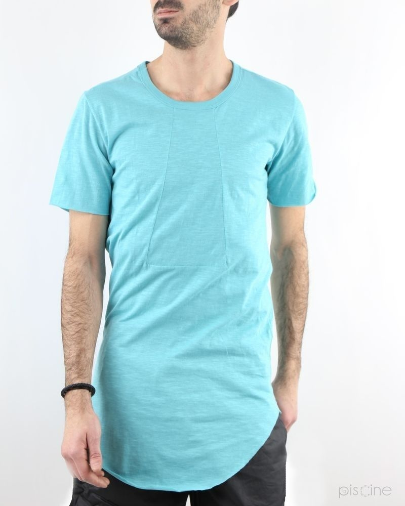 T-shirt over-size en coton chiné bleu turquoise Lost & Found