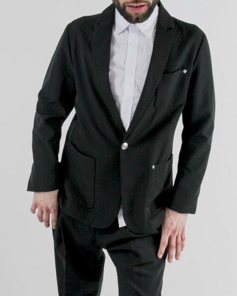 Veste en crêpe noir à clous fantaisies John Richmond