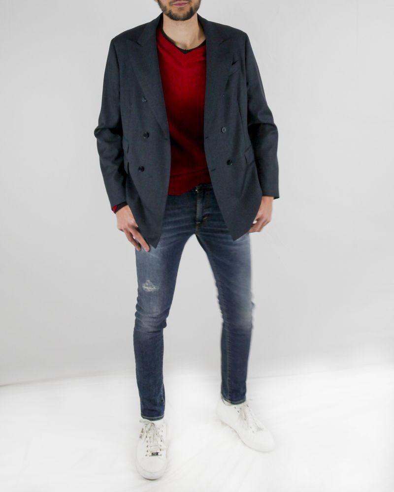 Veste blazer croisé en coton bleu texturé Luca Roda