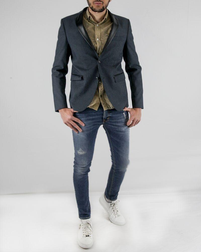 Veste en coton texturé gris effet denim Guess