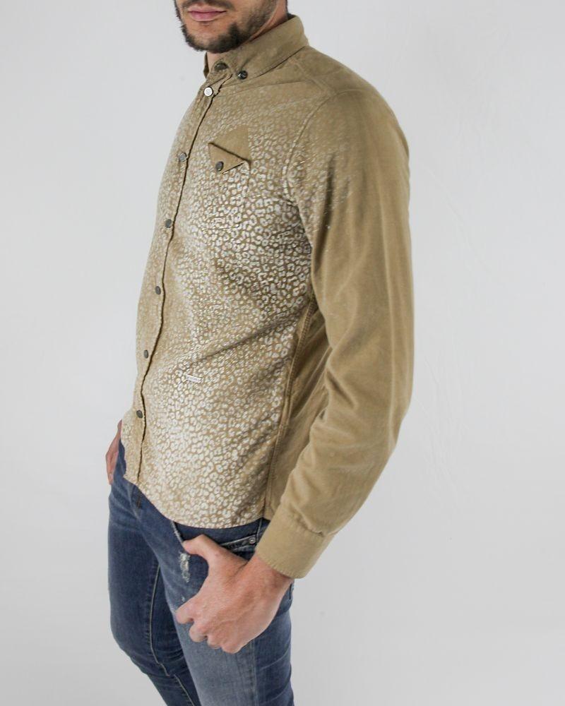 Chemise en velours beige à motifs animal Roberto Cavalli