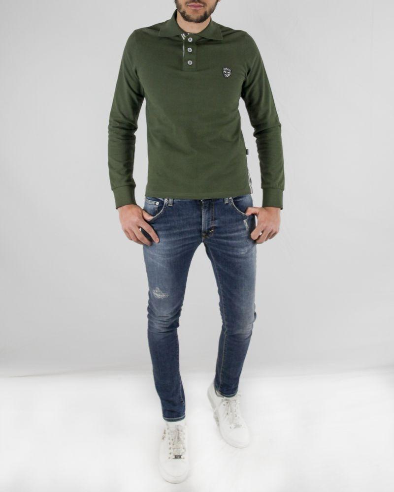 Polo manches longues en coton kaki Roberto Cavalli