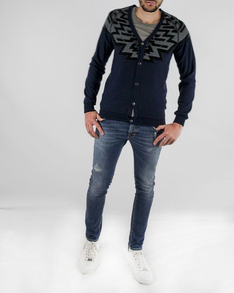 Gilet en laine bleu à motifs fantaisies gris Roberto Cavalli