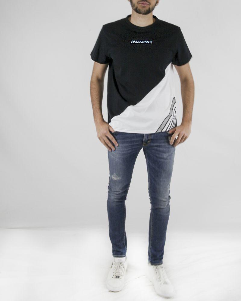 T-Shirt en coton blanc et noir à flockage Force Republik