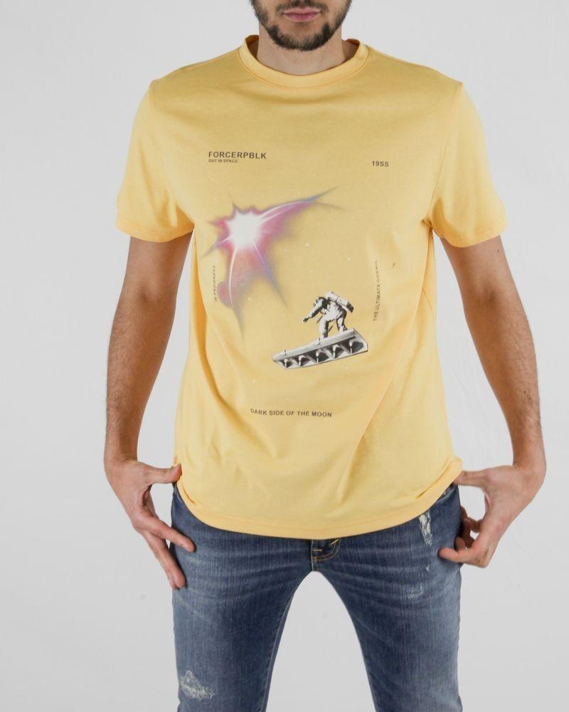 T-Shirt en coton jaune à imprimé fantaisie Force Republik