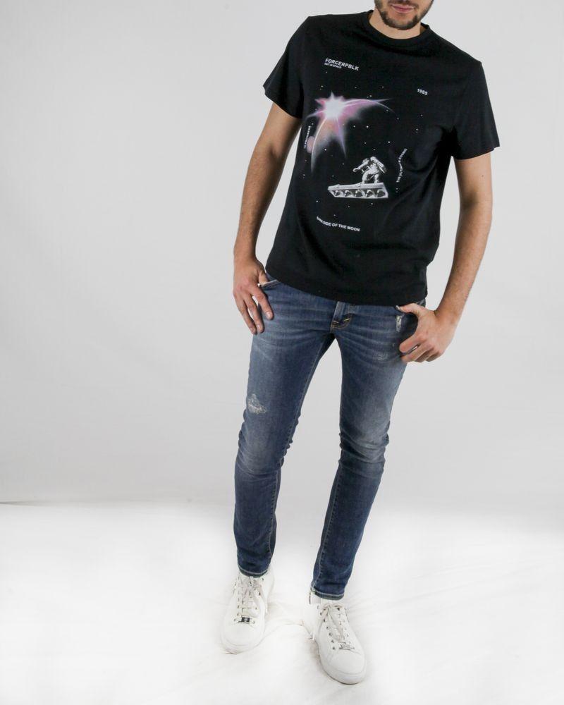 T-Shirt en coton noir à imprimé fantaisie Force Republik