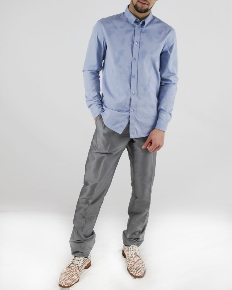 Chemise en coton bleu à petit carreaux Carven