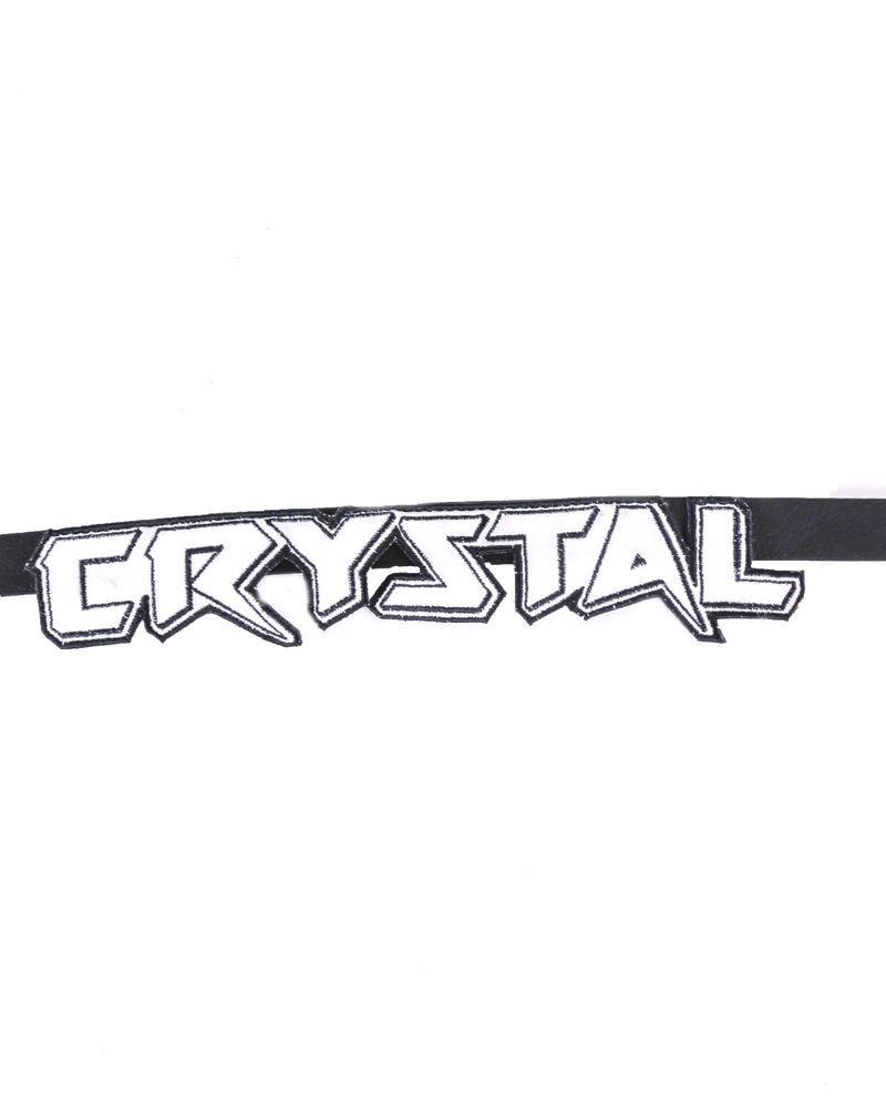 """Ceinture en cuir noir à patch """"Crystal"""" Carven"""