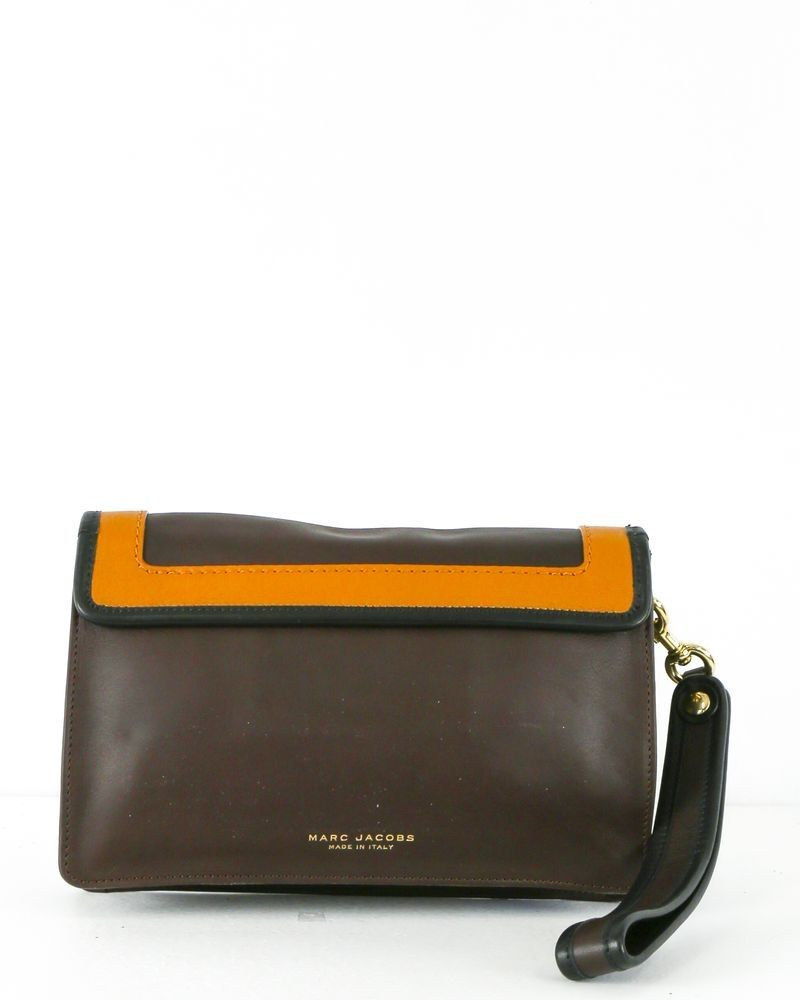 Elementary school Rubber gone crazy  Pochette en cuir marron et orange Marc Jacobs pas cher - Outlet La ...