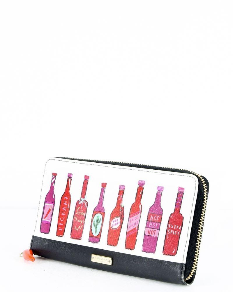 Portefeuille en cuir blanc à motifs rose Kate Spade