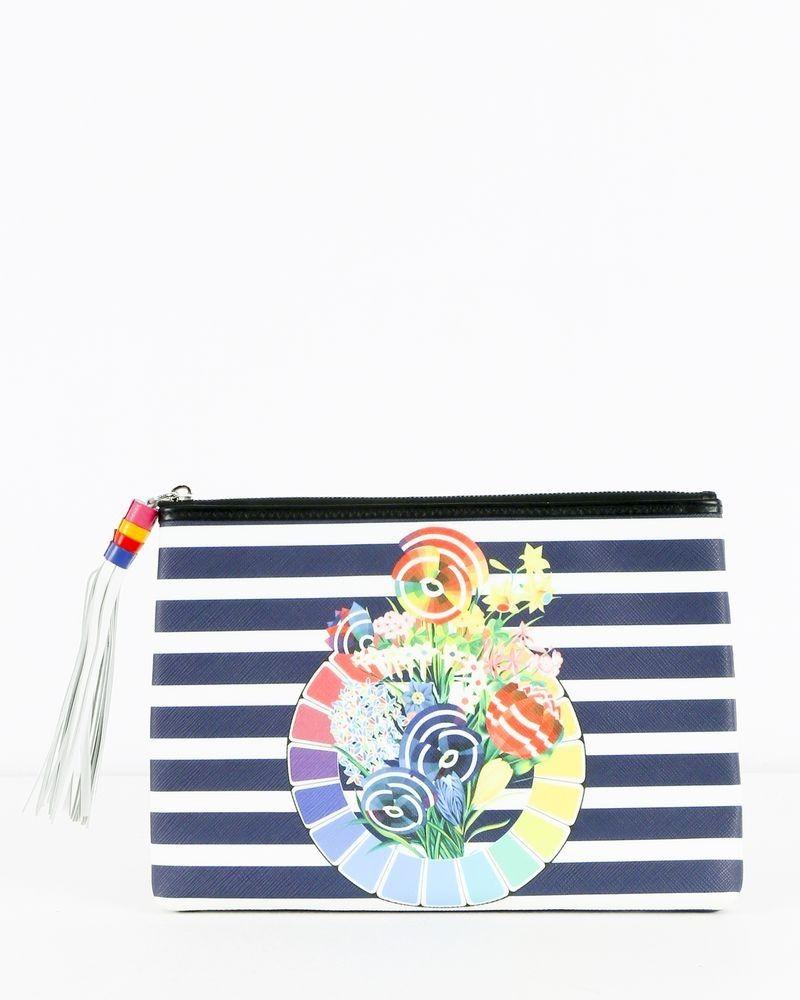 Pochette bleue rayée à motifs coloré Mary Katrantzou