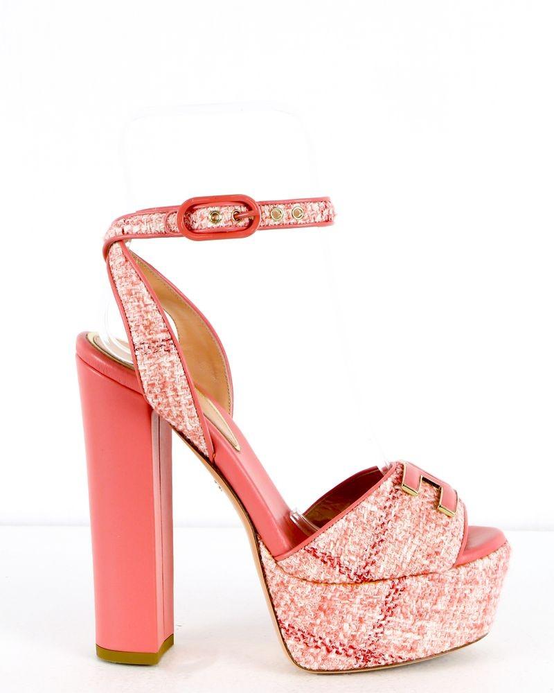 Sandales compensés rose Elisabetta Franchi