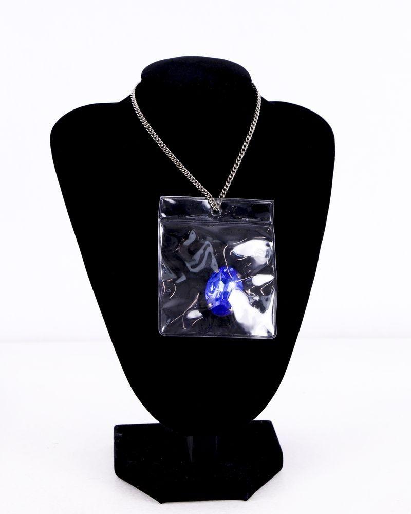 Collier argenté avec pierre bleue Maison Margiela