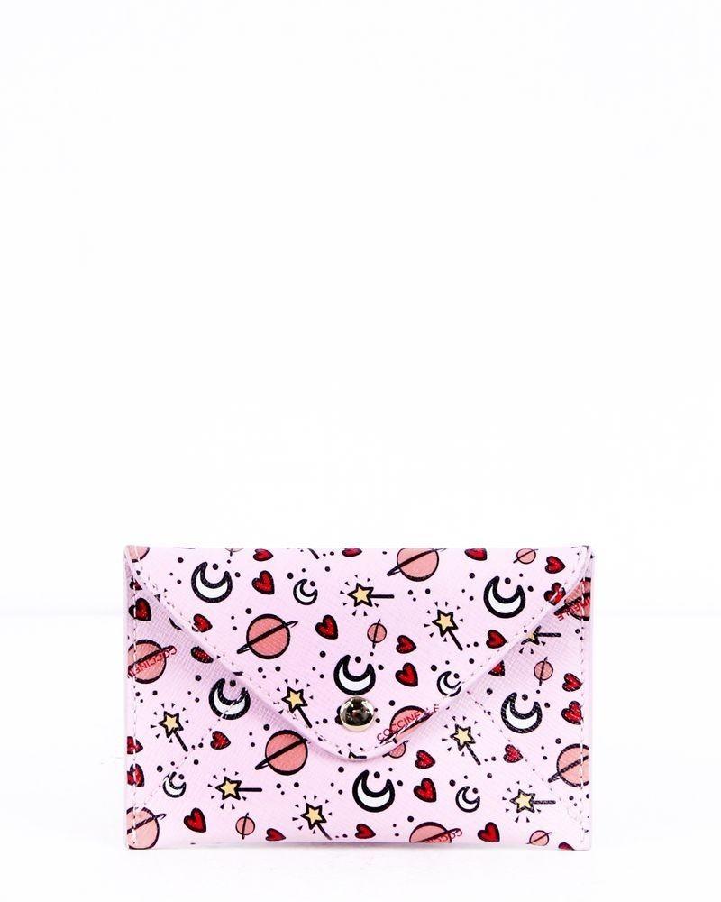 Porte carte rose à motifs Coccinelle