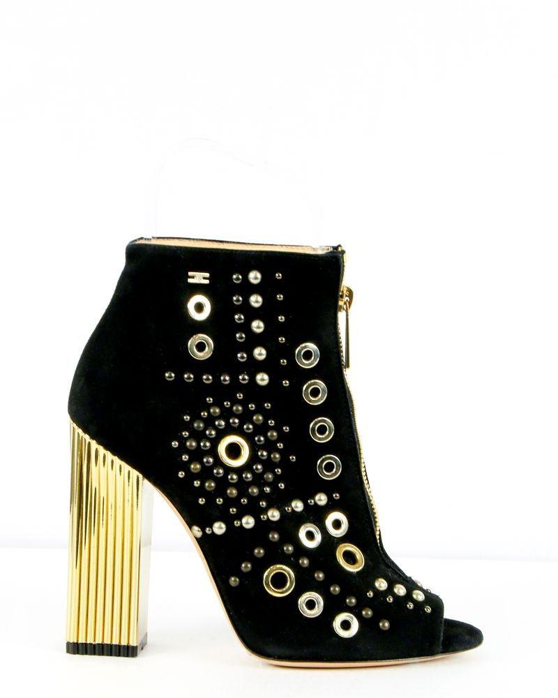 Chaussures à talons noir et dorée Jil Sander