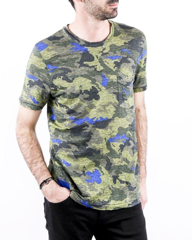 T-Shirt en lin kaki à motif camouflage Zadig & Voltaire