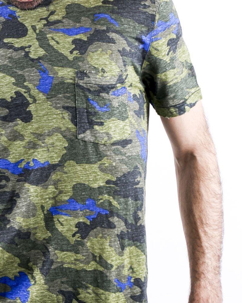 T-Shirt en coton lin kaki à imprimé camouflage Zadig & Voltaire