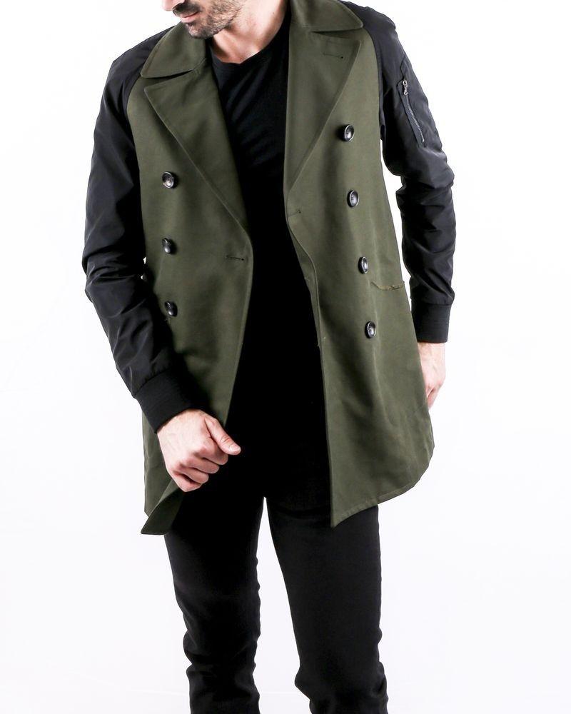 Trench coat bi matière kaki Ly Adams