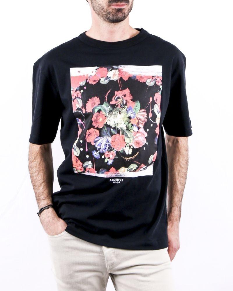 T-Shirt en coton noir à flocage fleuri Archive 18-20