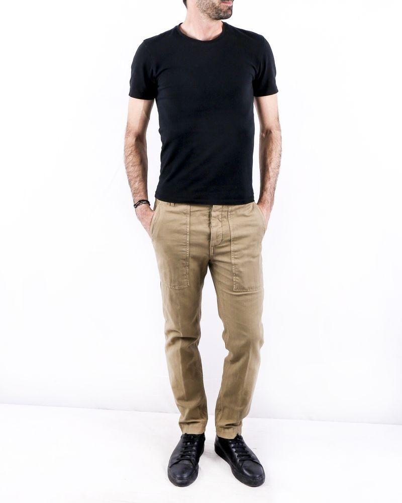 Pantalon en coton beige à poches cargos Ly Adams
