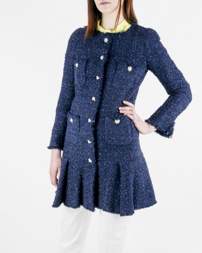 Manteau en tweed bleu Edward Achour