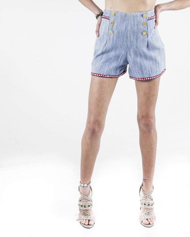 Short en jean bleu à galons fantaisie Edward Achour