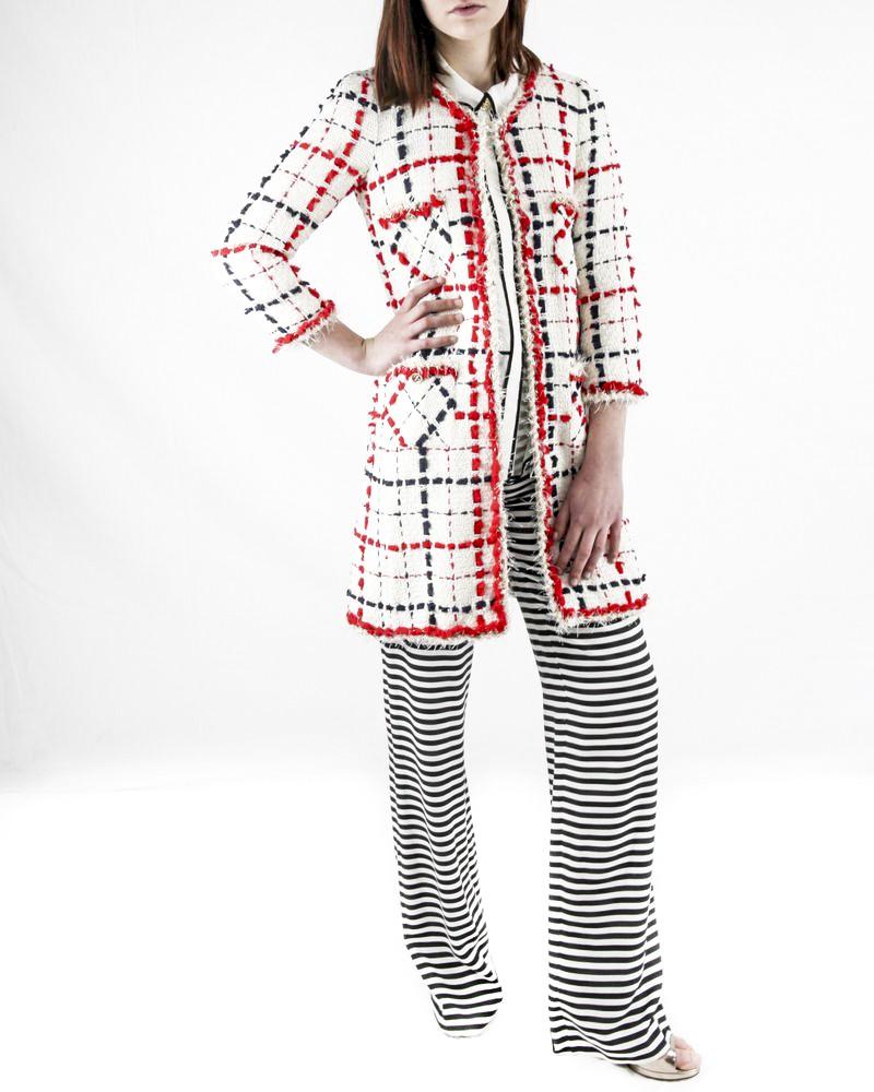 Manteau en tweed blanc à carreaux rouge et bleu Edward Achour