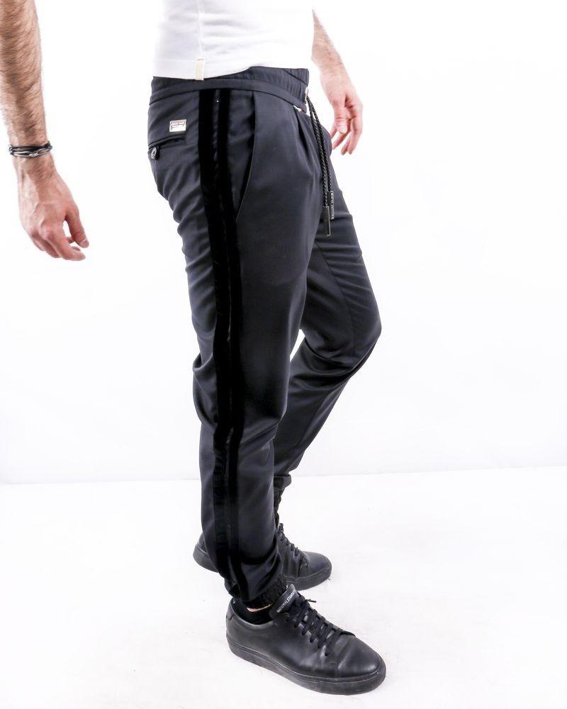 Jogging en coton noir à bandes latérales Philipp Plein