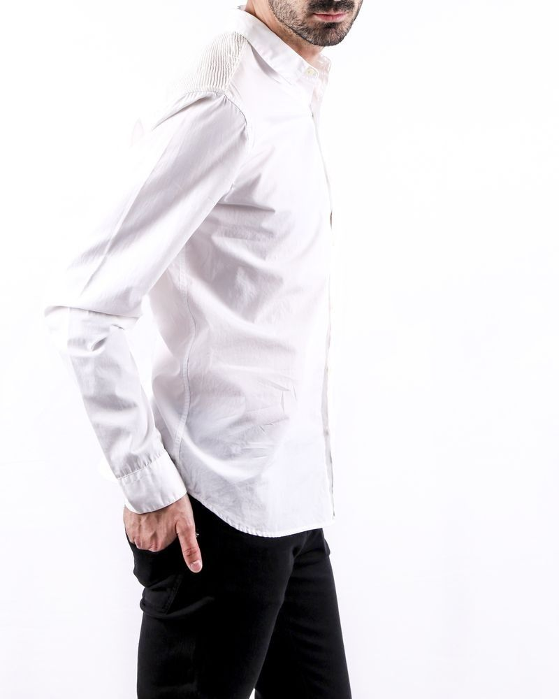 Chemise skinny en coton blanc à dos plissé Balmain