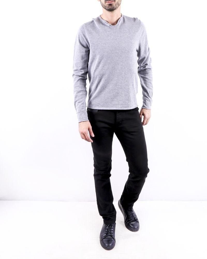 Pull en coton fin gris à dos floqué Zadig & Voltaire
