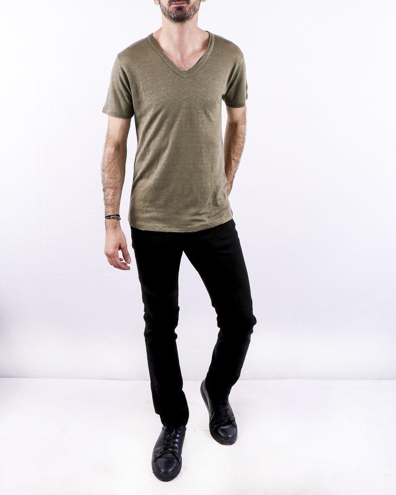 T-Shirt en lin chiné kaki Zadig & Voltaire