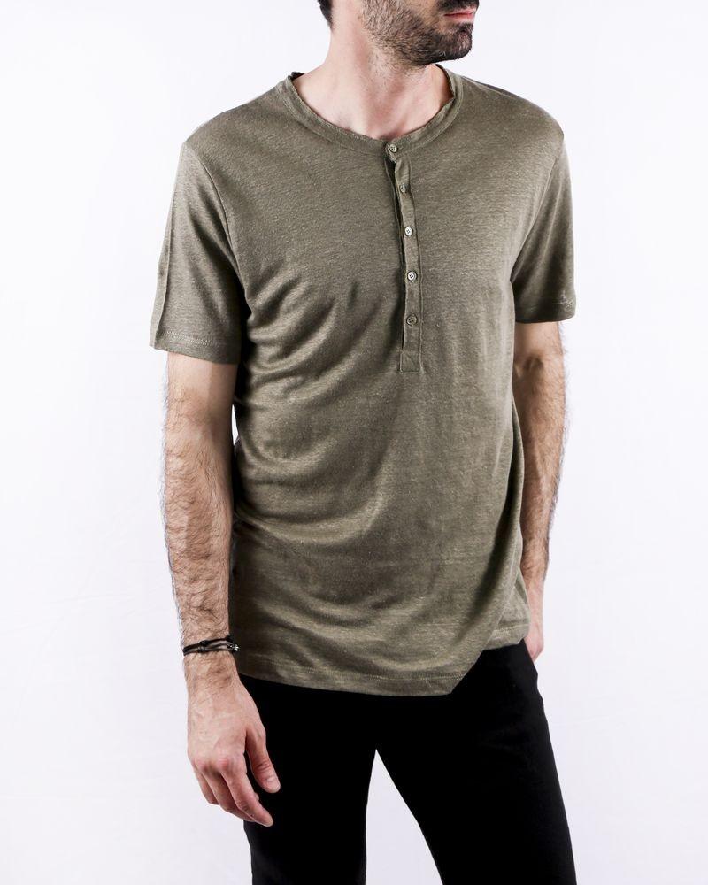 T-Shirt en lin chiné kaki à col tunisien Zadig & Voltaire