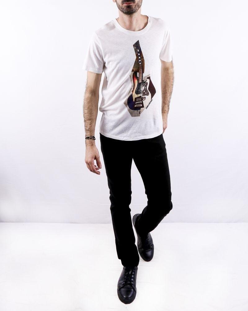 T-Shirt en coton blanc à flocage guitare Zadig & Voltaire