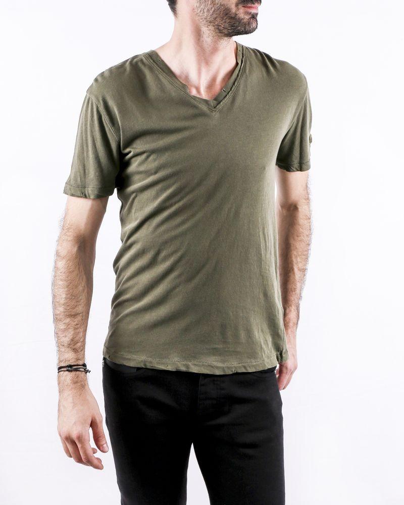 T-Shirt en coton kaki col V Zadig & Voltaire