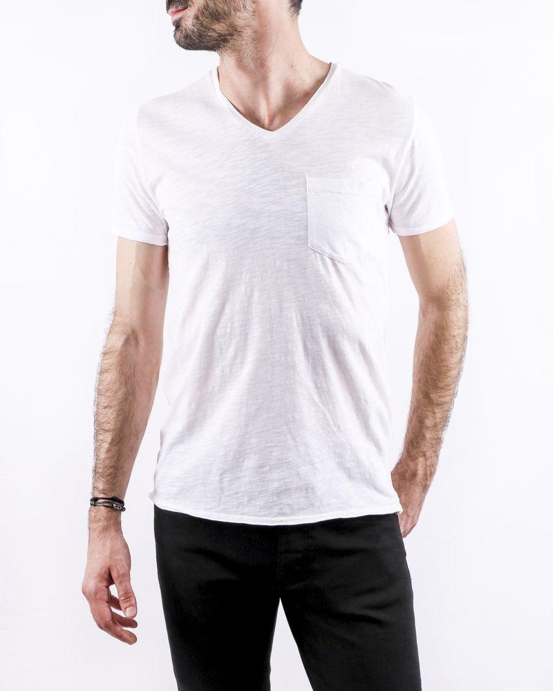 T-Shirt en coton chiné blanc à poche poitrine Zadig & Voltaire