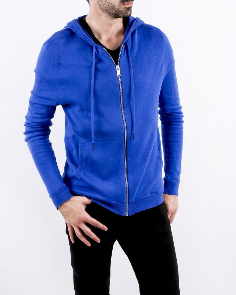 Sweat gilet en coton bleu à poche kangourou Zadig & Voltaire