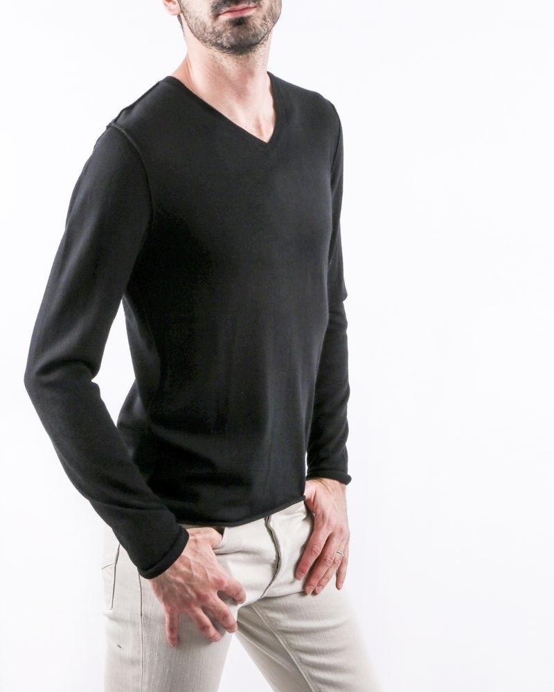 Pull en laine noir à col V Zadig & Voltaire