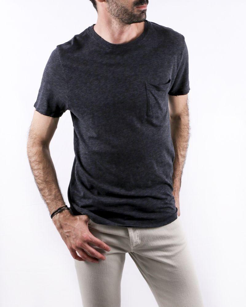 T-Shirt en coton chiné gris foncé à poche poitrine Zadig & Voltaire