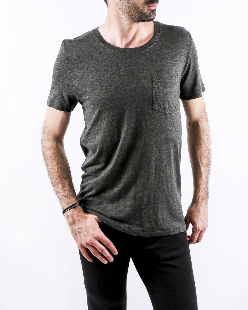 T-Shirt en coton chiné kaki à poche poitrine Zadig & Voltaire