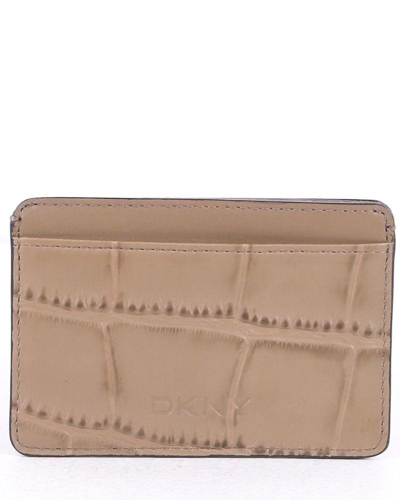 Porte carte taupe DKNY