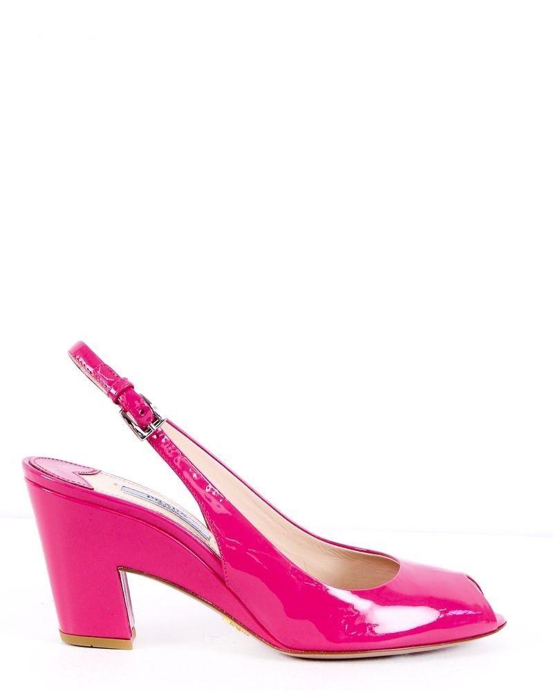 Escarpins rose à bout ouvert Prada