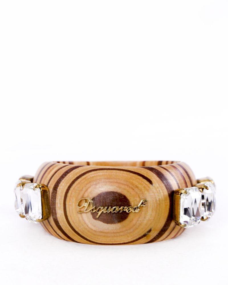 Bracelet beige en bois à pierres Dsquared
