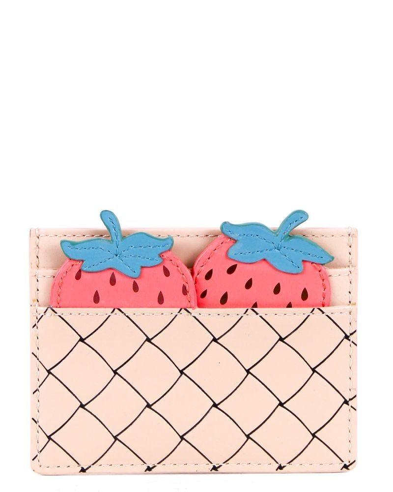 Porte carte beige à motifs fraise Kate Spade