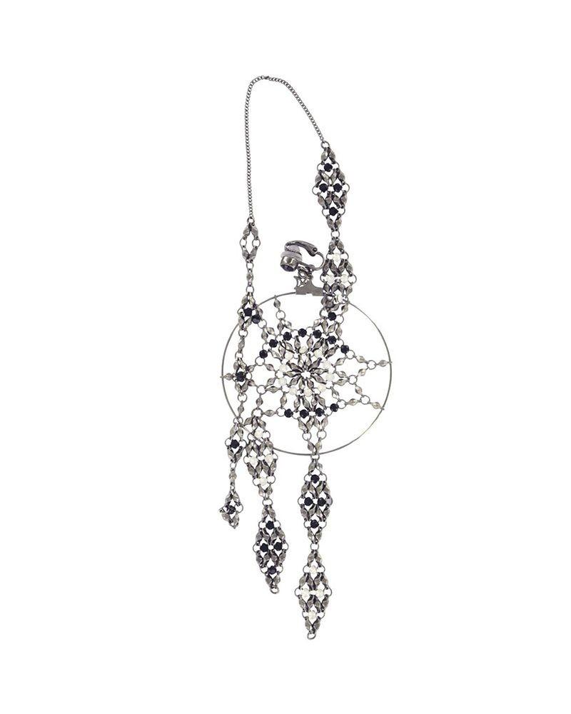 Bijou d'oreille pendentif losange dentelle ajourée et cristaux Swarovski