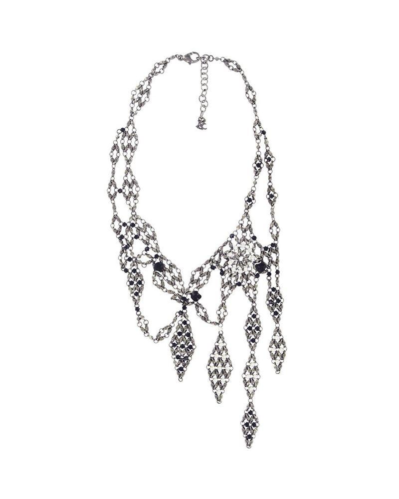 Ras de cou pendentifs losanges dentelle ajourée en métal et cristaux Swarovski
