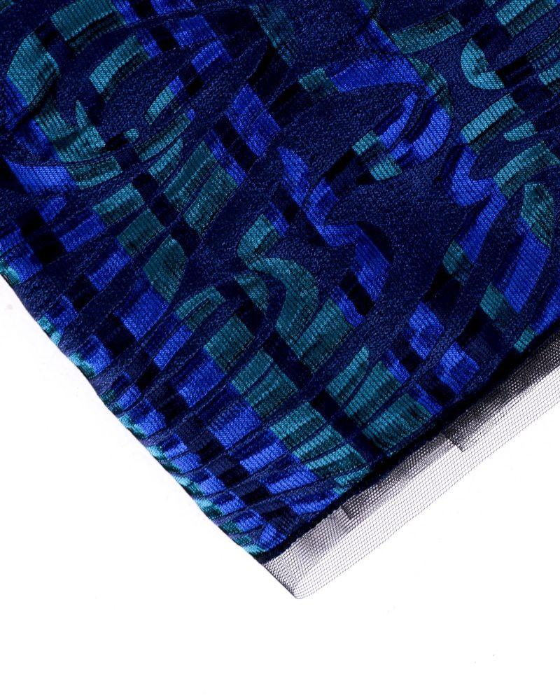 Echarpe bleue rayée vert Maria Grazia Severi